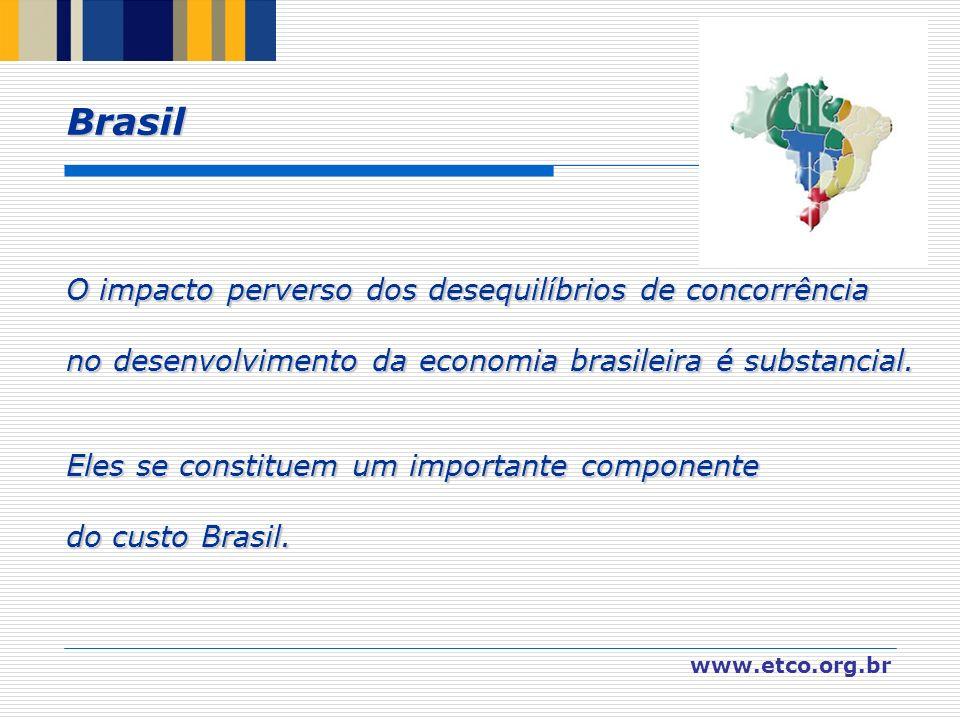www.etco.org.br O impacto perverso dos desequilíbrios de concorrência no desenvolvimento da economia brasileira é substancial. Eles se constituem um i