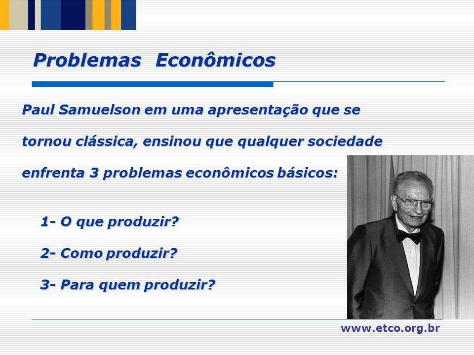 www.etco.org.br Problemas Econômicos Paul Samuelson em uma apresentação que se tornou clássica, ensinou que qualquer sociedade enfrenta 3 problemas ec