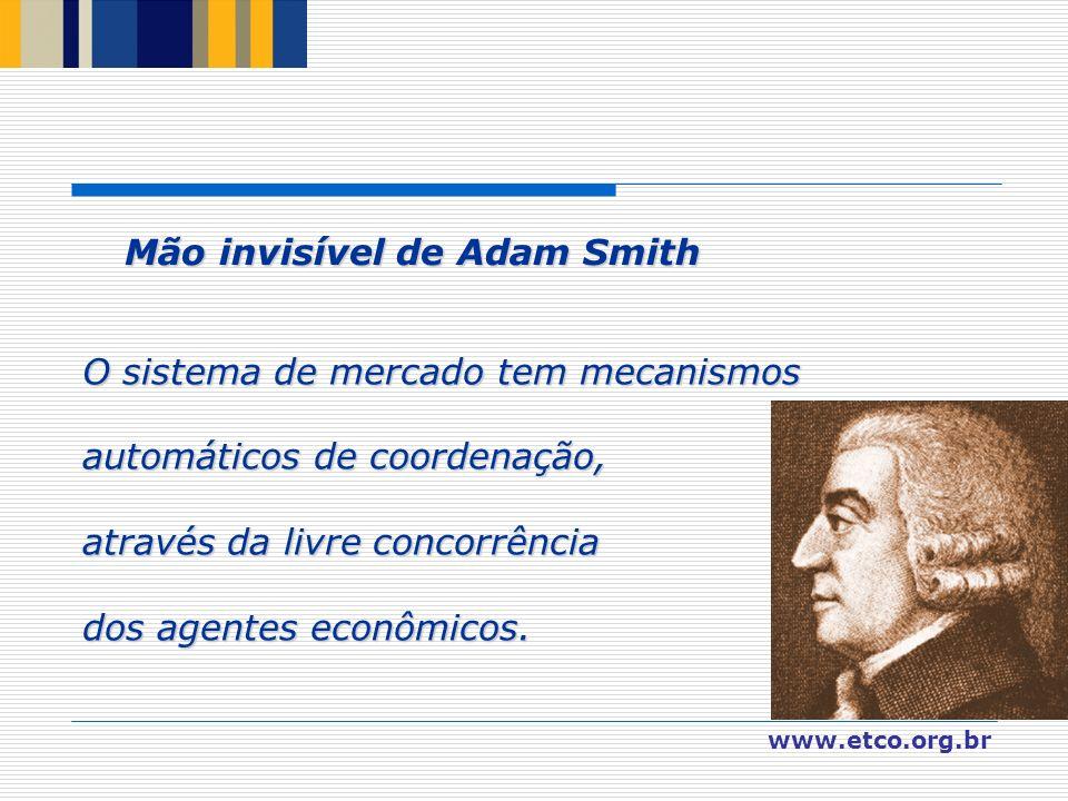 www.etco.org.br O sistema de mercado tem mecanismos automáticos de coordenação, através da livre concorrência dos agentes econômicos. Mão invisível de