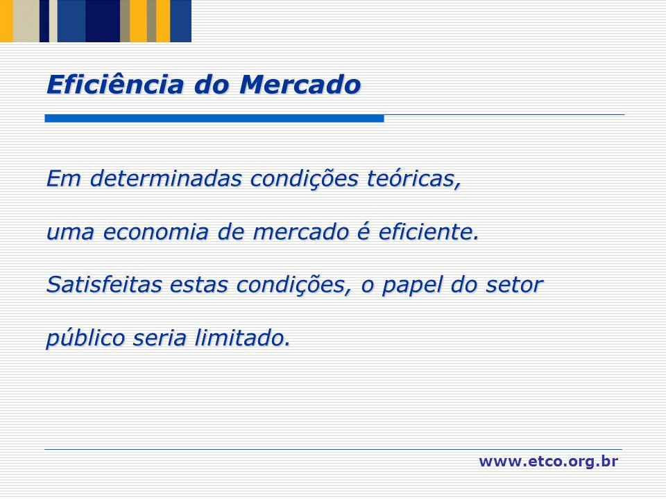 www.etco.org.br Em determinadas condições teóricas, uma economia de mercado é eficiente. Satisfeitas estas condições, o papel do setor público seria l