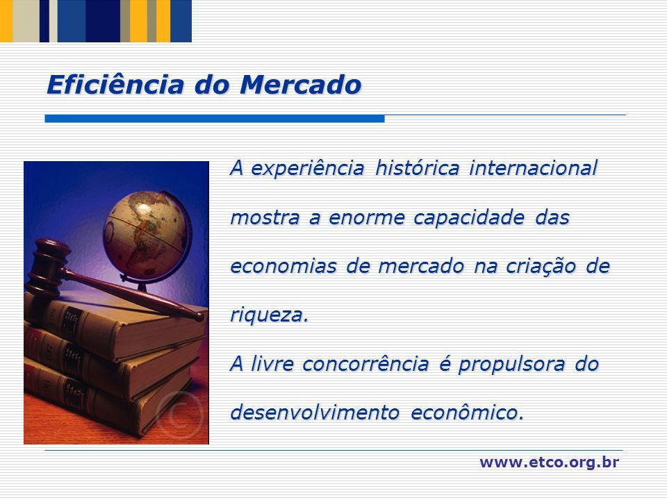 www.etco.org.br A experiência histórica internacional mostra a enorme capacidade das economias de mercado na criação de riqueza. A livre concorrência