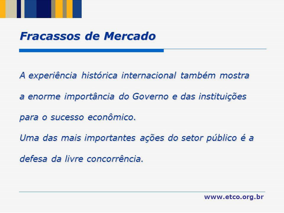 www.etco.org.br A experiência histórica internacional também mostra a enorme importância do Governo e das instituições para o sucesso econômico. Uma d