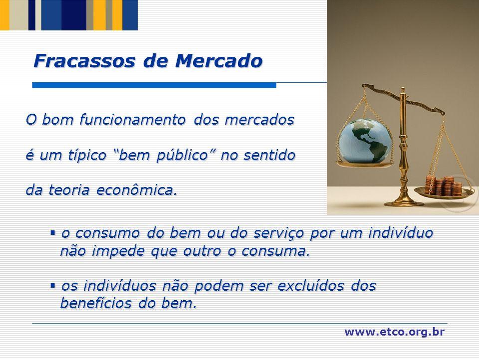 www.etco.org.br O bom funcionamento dos mercados é um típico bem público no sentido da teoria econômica. o o consumo do bem ou do serviço por um indiv
