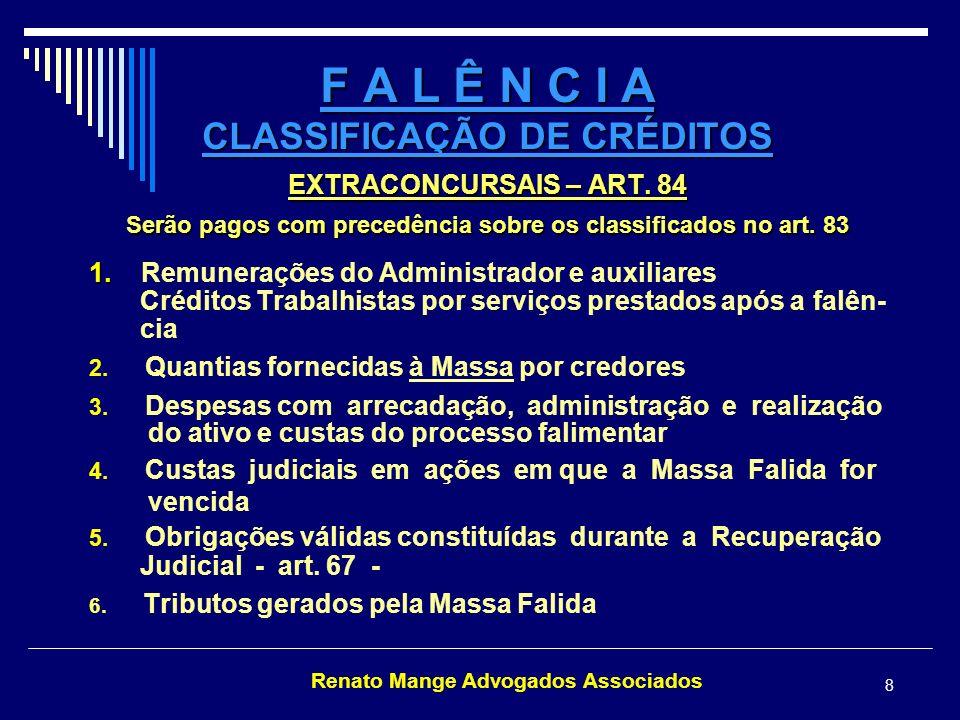 Renato Mange Advogados Associados 9 F A L Ê N C I A PEDIDOS DE RESTITUIÇÃO – ART.