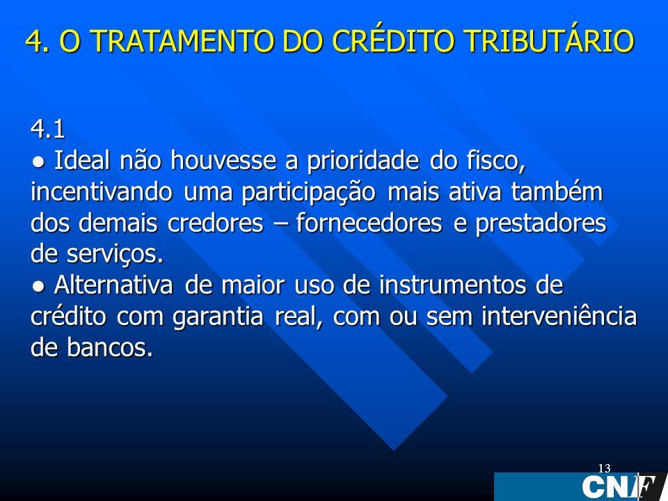 13 4.1 Ideal não houvesse a prioridade do fisco, incentivando uma participação mais ativa também dos demais credores – fornecedores e prestadores de serviços.