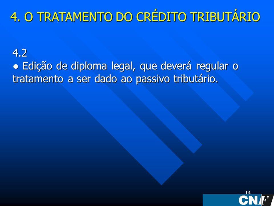 14 4.2 Edição de diploma legal, que deverá regular o tratamento a ser dado ao passivo tributário.