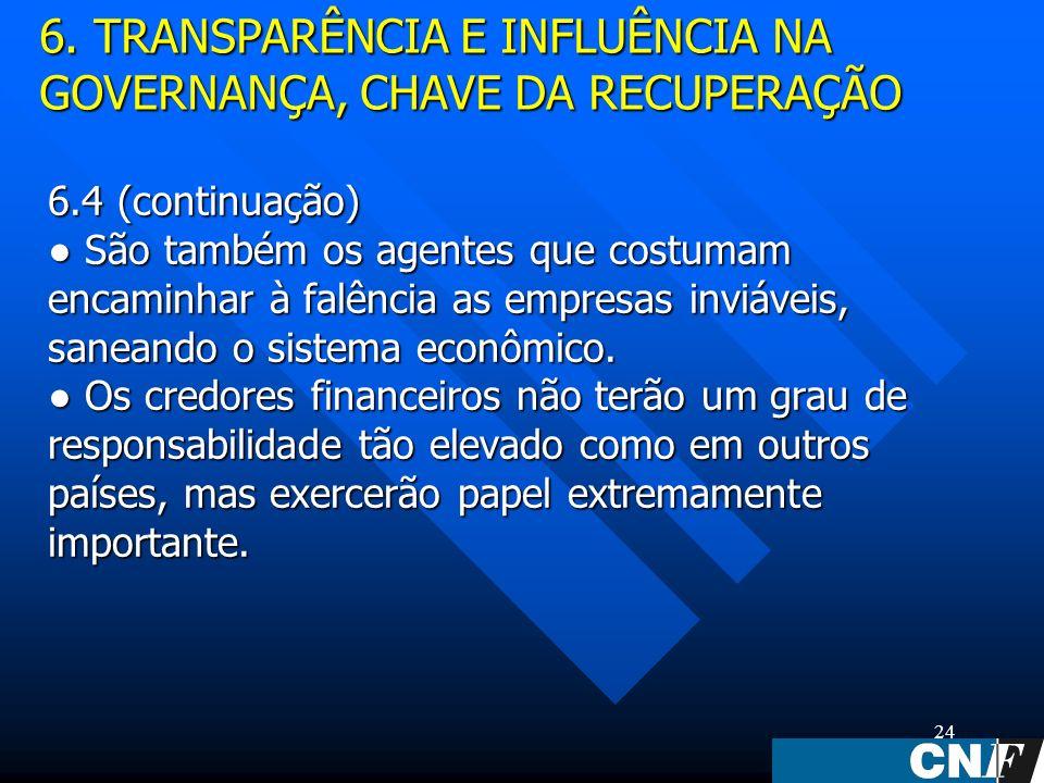 24 6.4 (continuação) São também os agentes que costumam encaminhar à falência as empresas inviáveis, saneando o sistema econômico.