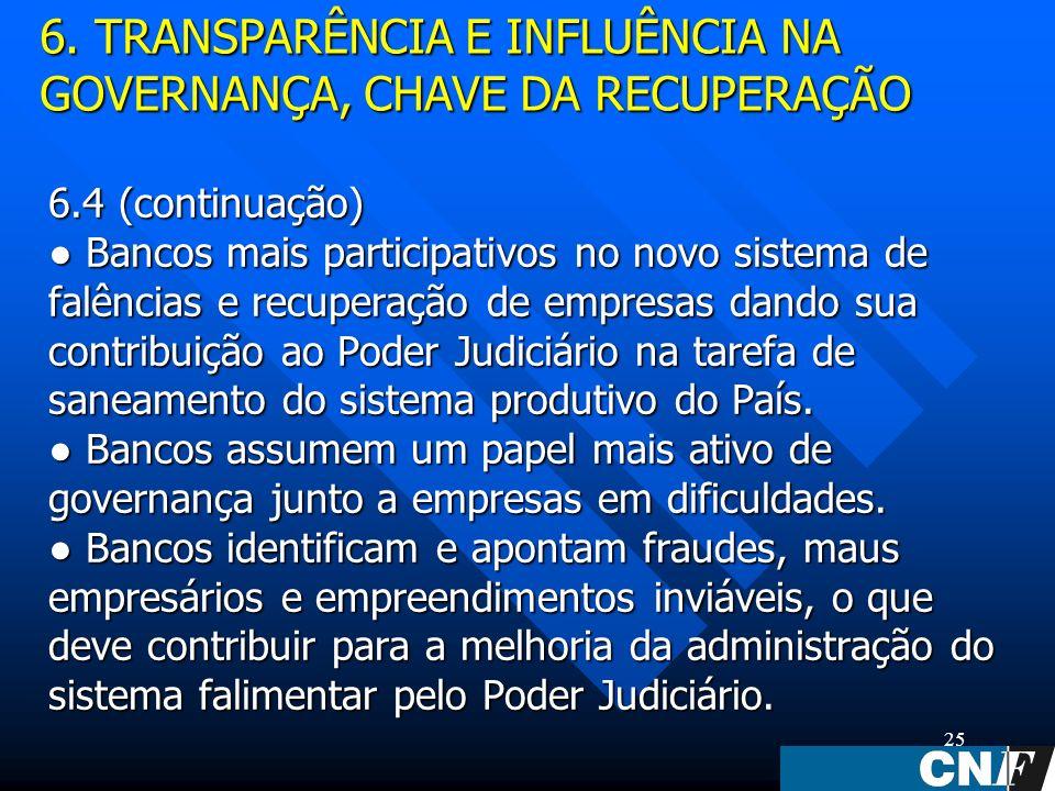 25 6.4 (continuação) Bancos mais participativos no novo sistema de falências e recuperação de empresas dando sua contribuição ao Poder Judiciário na tarefa de saneamento do sistema produtivo do País.