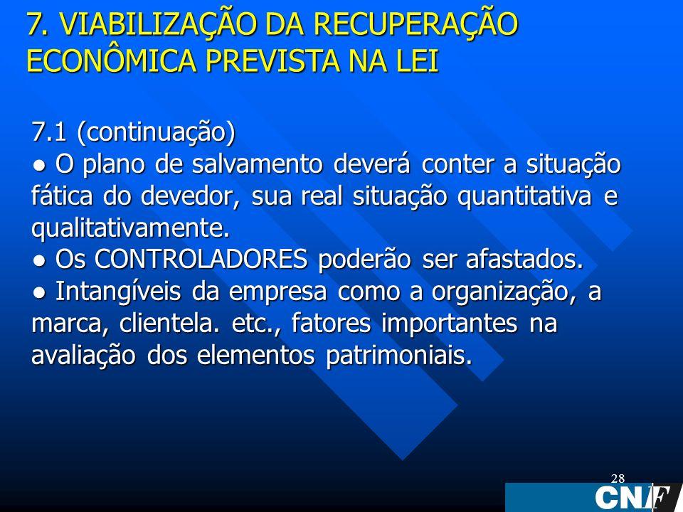 28 7.1 (continuação) O plano de salvamento deverá conter a situação fática do devedor, sua real situação quantitativa e qualitativamente.