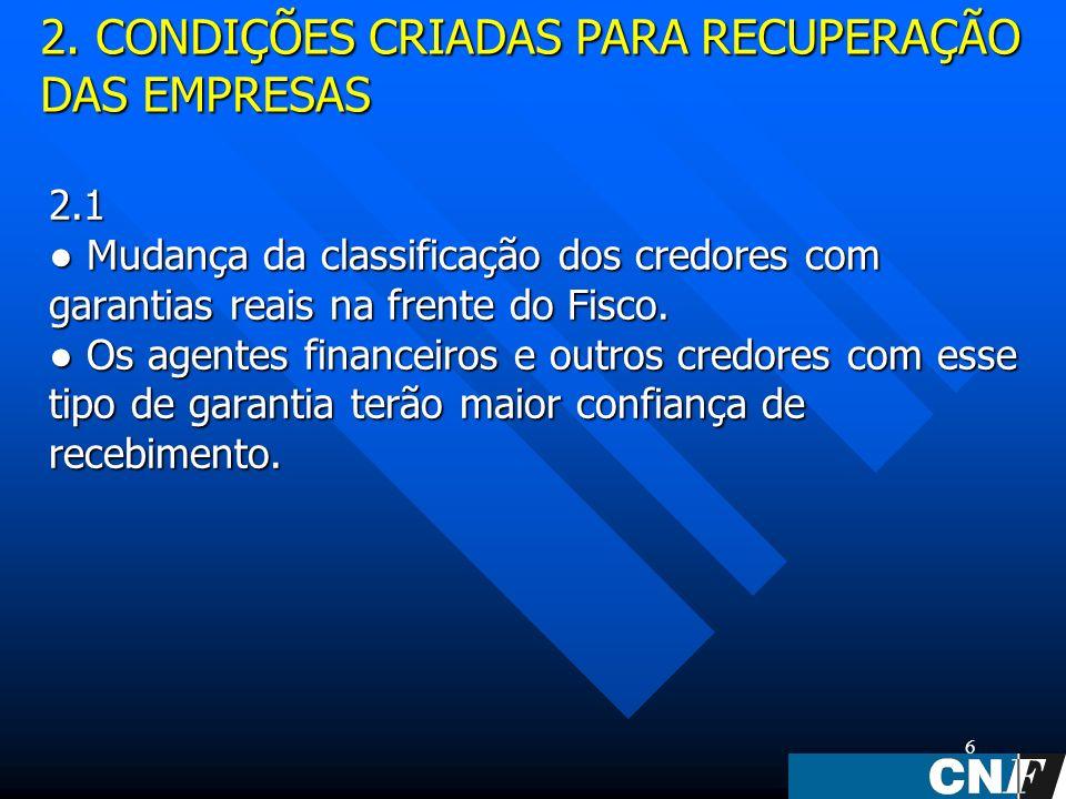 6 2.1 Mudança da classificação dos credores com garantias reais na frente do Fisco.