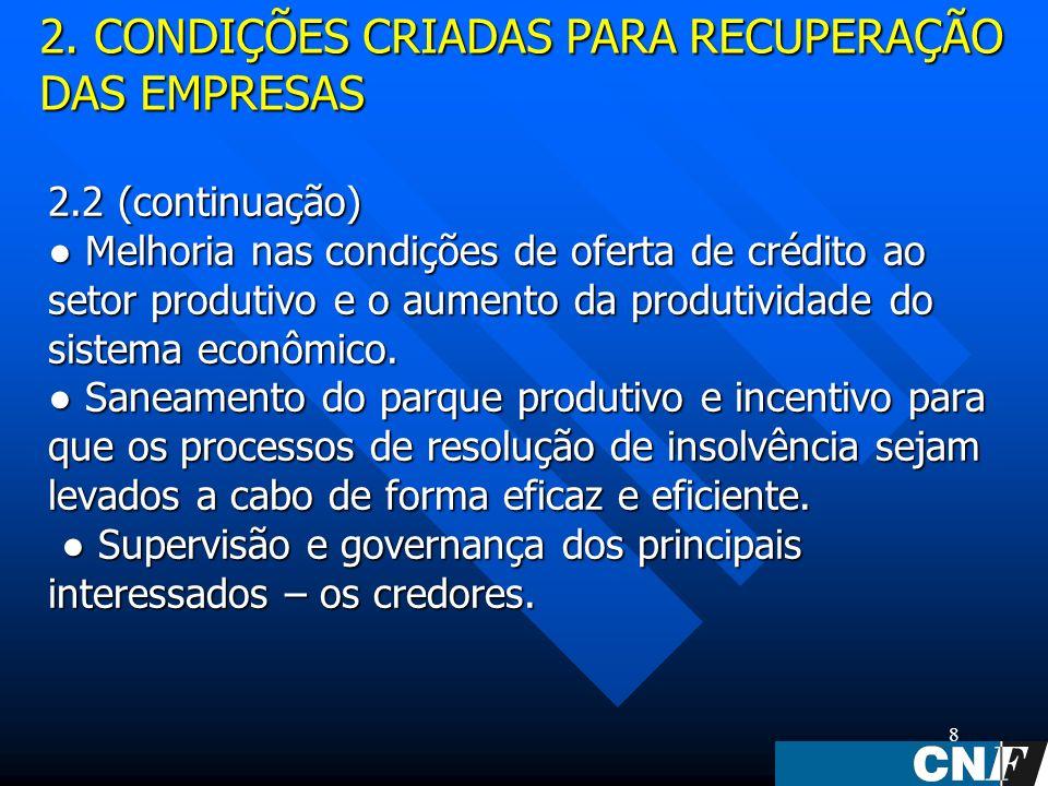 8 2.2 (continuação) Melhoria nas condições de oferta de crédito ao setor produtivo e o aumento da produtividade do sistema econômico.