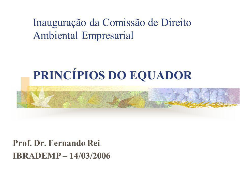 Inauguração da Comissão de Direito Ambiental Empresarial PRINCÍPIOS DO EQUADOR Prof.