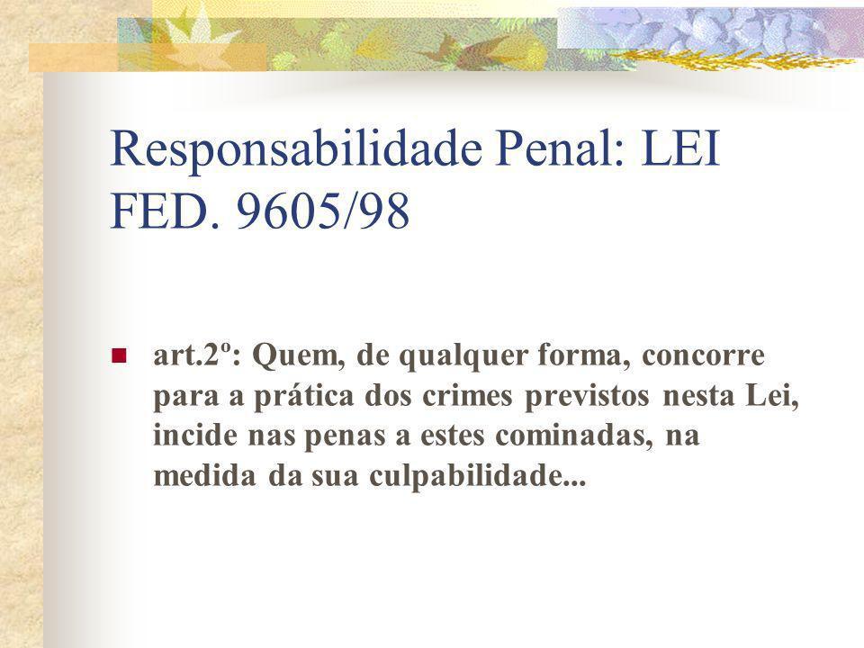 Responsabilidade Penal: LEI FED. 9605/98 art.2º: Quem, de qualquer forma, concorre para a prática dos crimes previstos nesta Lei, incide nas penas a e