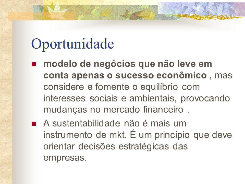 Oportunidade modelo de negócios que não leve em conta apenas o sucesso econômico, mas considere e fomente o equilíbrio com interesses sociais e ambien