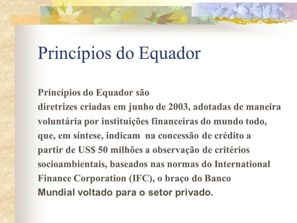 Princípios do Equador Princípios do Equador são diretrizes criadas em junho de 2003, adotadas de maneira voluntária por instituições financeiras do mundo todo, que, em síntese, indicam na concessão de crédito a partir de US$ 50 milhões a observação de critérios socioambientais, baseados nas normas do International Finance Corporation (IFC), o braço do Banco Mundial voltado para o setor privado.