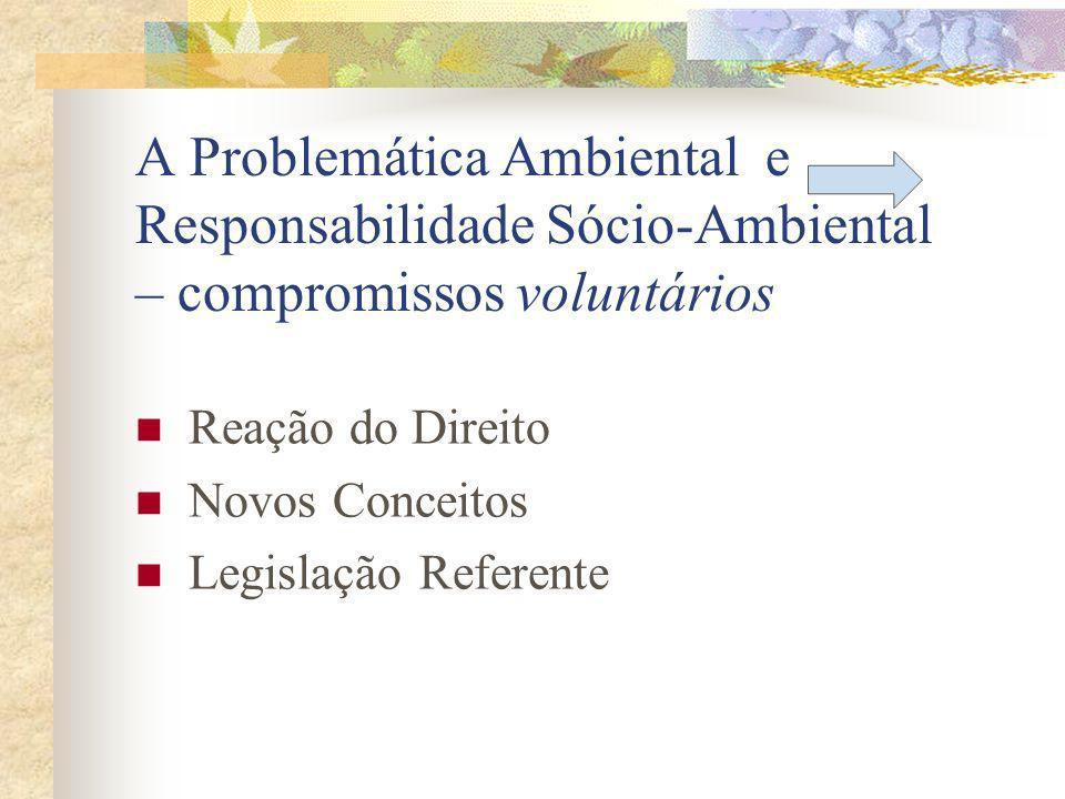 A Problemática Ambiental e Responsabilidade Sócio-Ambiental – compromissos voluntários Reação do Direito Novos Conceitos Legislação Referente