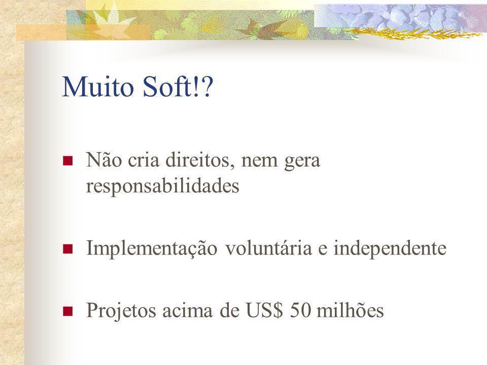 Muito Soft!? Não cria direitos, nem gera responsabilidades Implementação voluntária e independente Projetos acima de US$ 50 milhões