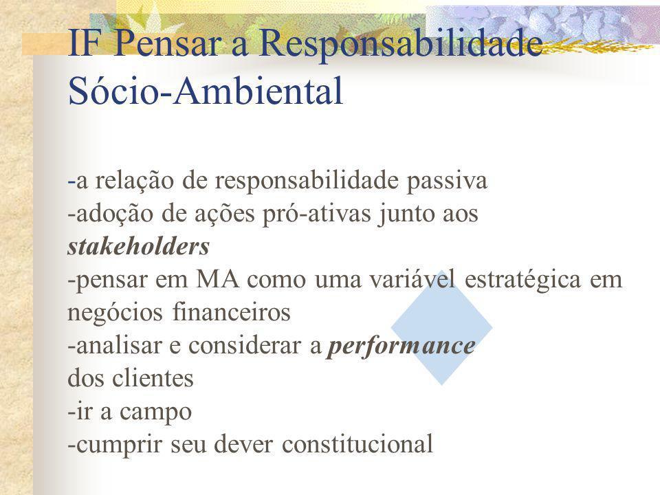 IF Pensar a Responsabilidade Sócio-Ambiental -a relação de responsabilidade passiva -adoção de ações pró-ativas junto aos stakeholders -pensar em MA c