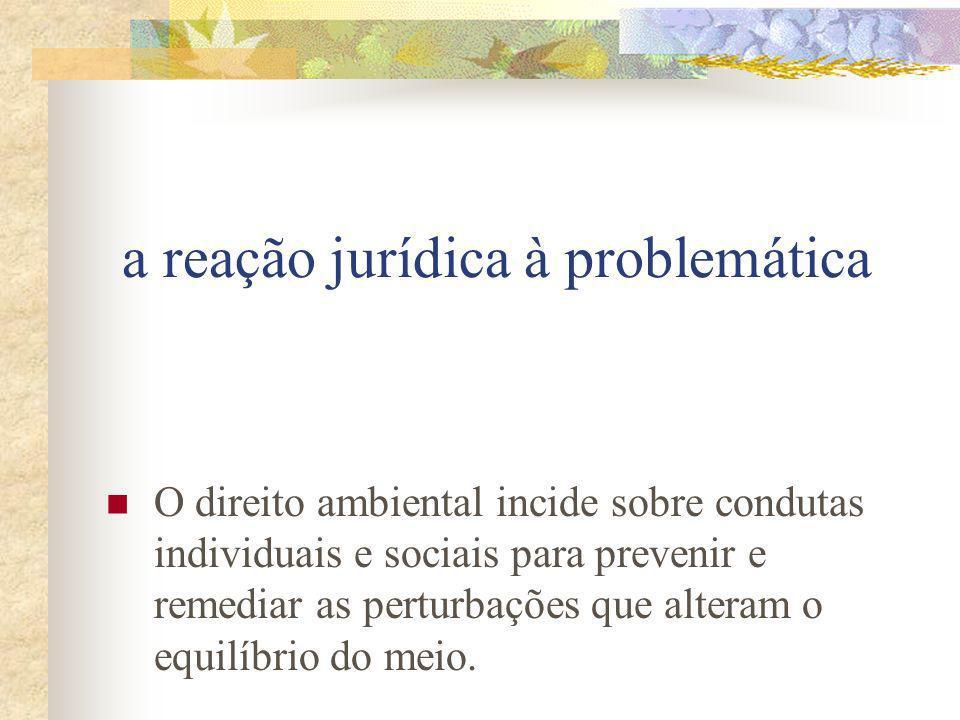 a reação jurídica à problemática O direito ambiental incide sobre condutas individuais e sociais para prevenir e remediar as perturbações que alteram o equilíbrio do meio.