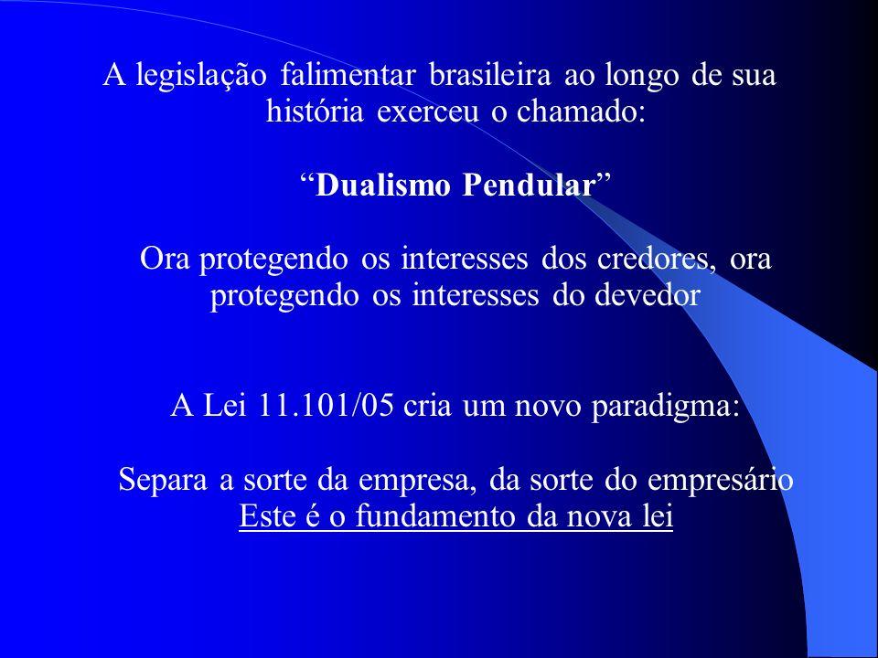A legislação falimentar brasileira ao longo de sua história exerceu o chamado:Dualismo Pendular Ora protegendo os interesses dos credores, ora protege
