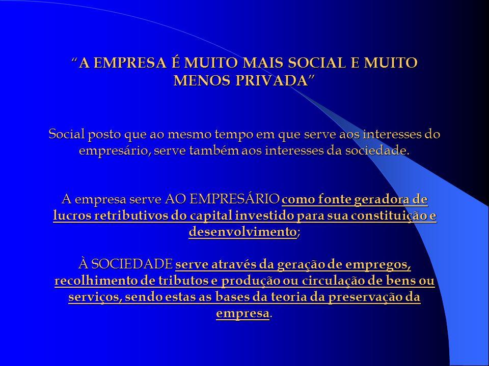 A EMPRESA É MUITO MAIS SOCIAL E MUITO MENOS PRIVADA Social posto que ao mesmo tempo em que serve aos interesses do empresário, serve também aos intere