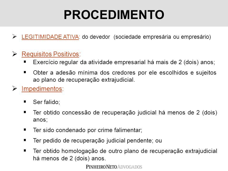 LEGITIMIDADE ATIVA: do devedor (sociedade empresária ou empresário) PROCEDIMENTO Ser falido; Ter obtido concessão de recuperação judicial há menos de