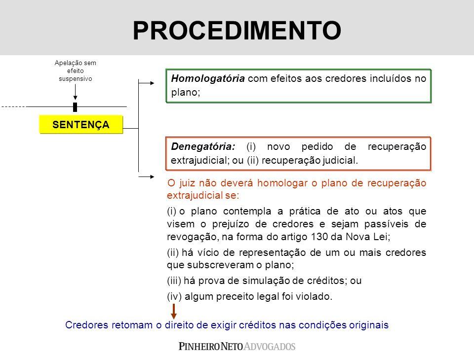 SENTENÇA Denegatória: (i) novo pedido de recuperação extrajudicial; ou (ii) recuperação judicial. Homologatória com efeitos aos credores incluídos no