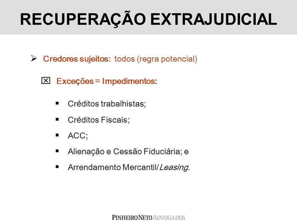 Credores sujeitos: todos (regra potencial) Exce ç ões = Impedimentos: Cr é ditos trabalhistas; Cr é ditos Fiscais; ACC; Aliena ç ão e Cessão Fiduci á