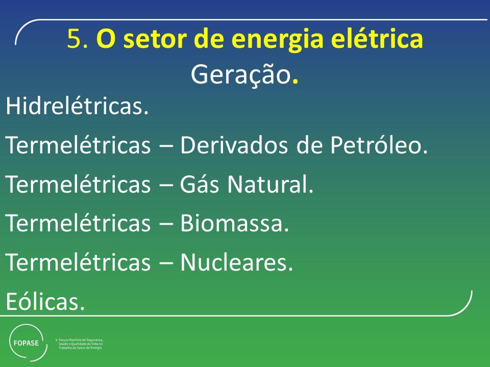 5.O setor de energia elétrica Geração. Hidrelétricas.