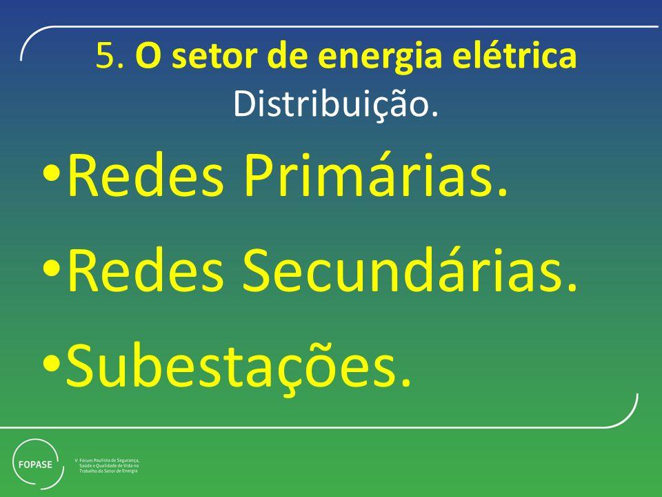 5. O setor de energia elétrica Distribuição. Redes Primárias. Redes Secundárias. Subestações.