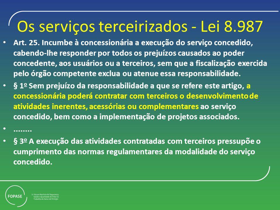 Os serviços terceirizados - Lei 8.987 Art. 25. Incumbe à concessionária a execução do serviço concedido, cabendo-lhe responder por todos os prejuízos
