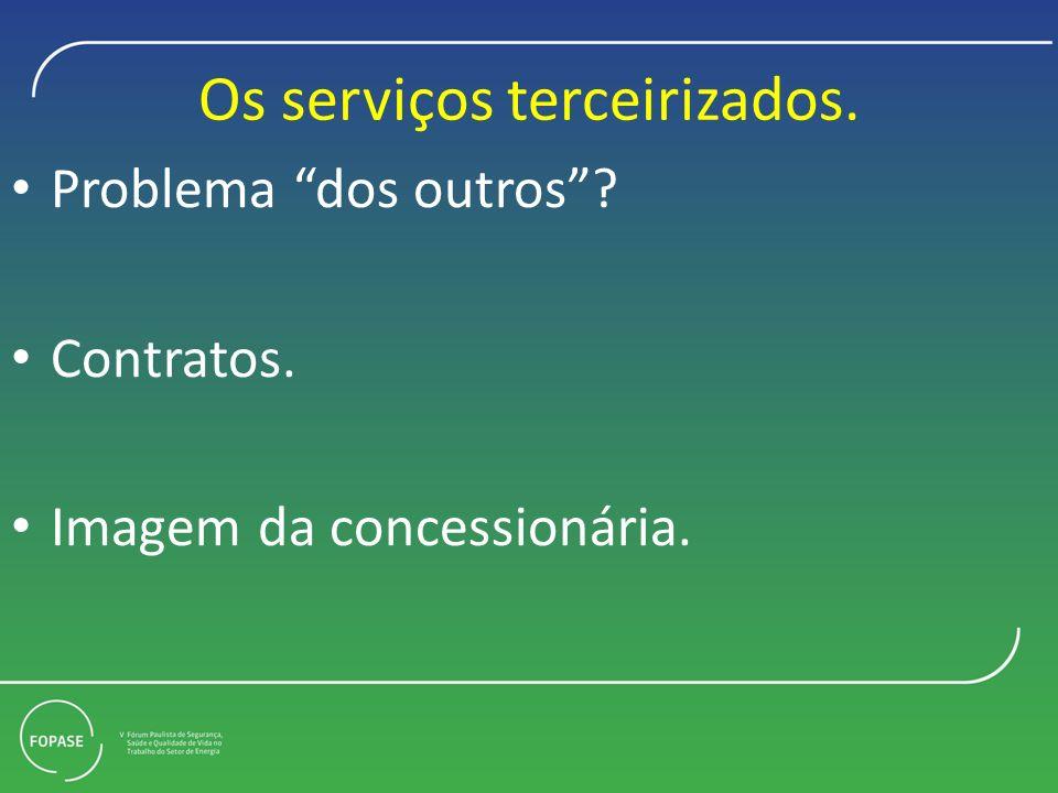 Os serviços terceirizados. Problema dos outros? Contratos. Imagem da concessionária.