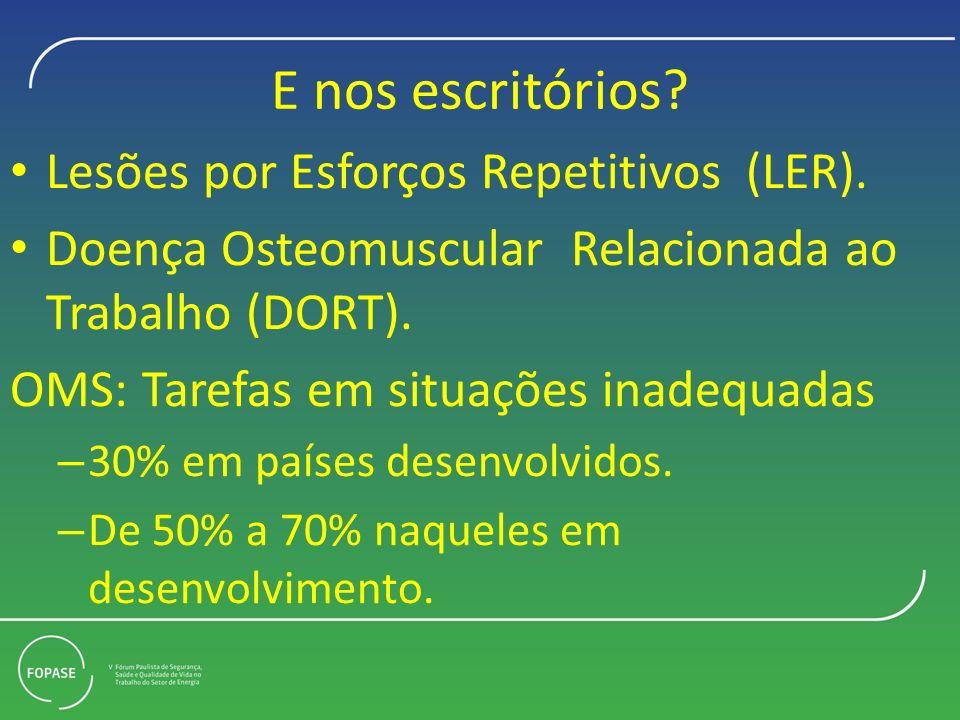 E nos escritórios? Lesões por Esforços Repetitivos (LER). Doença Osteomuscular Relacionada ao Trabalho (DORT). OMS: Tarefas em situações inadequadas –