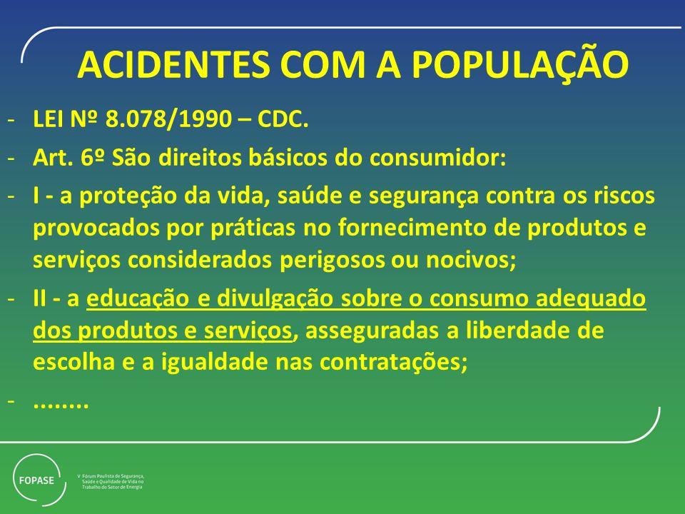 ACIDENTES COM A POPULAÇÃO -LEI Nº 8.078/1990 – CDC. -Art. 6º São direitos básicos do consumidor: -I - a proteção da vida, saúde e segurança contra os