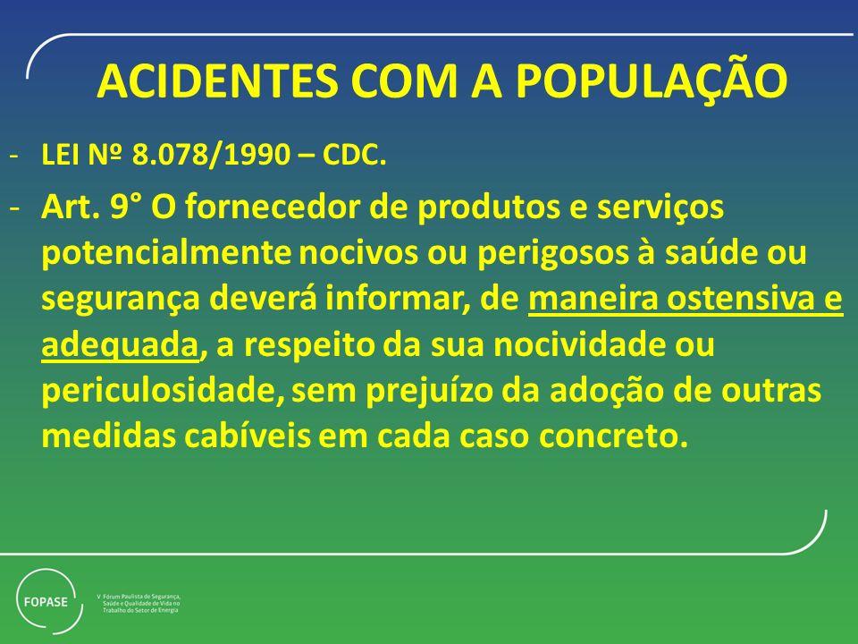 ACIDENTES COM A POPULAÇÃO -LEI Nº 8.078/1990 – CDC. -Art. 9° O fornecedor de produtos e serviços potencialmente nocivos ou perigosos à saúde ou segura