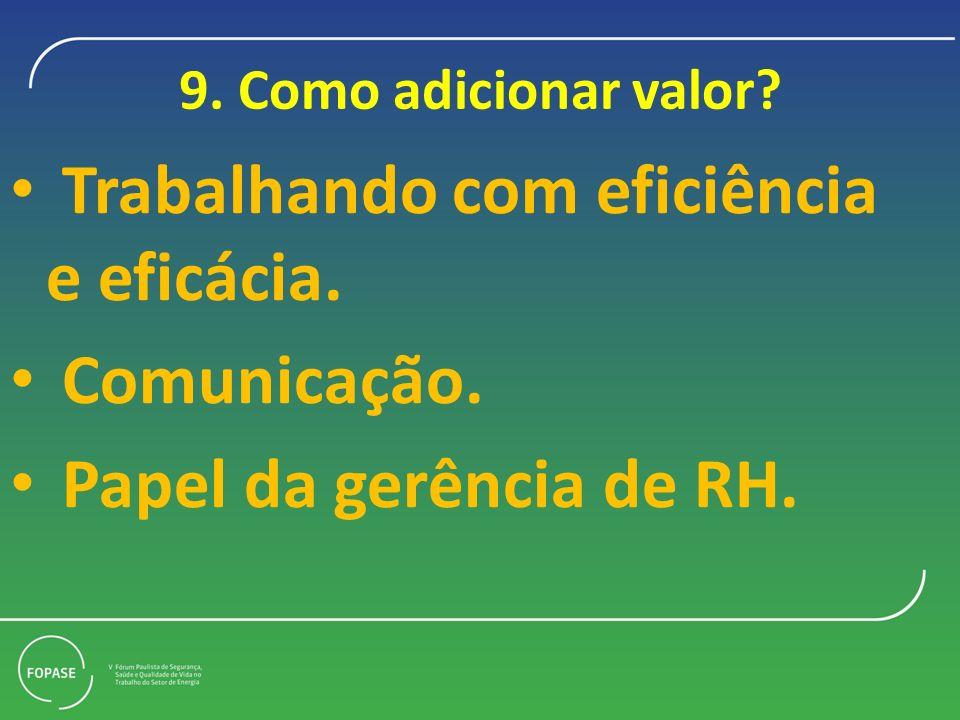 9. Como adicionar valor? Trabalhando com eficiência e eficácia. Comunicação. Papel da gerência de RH.