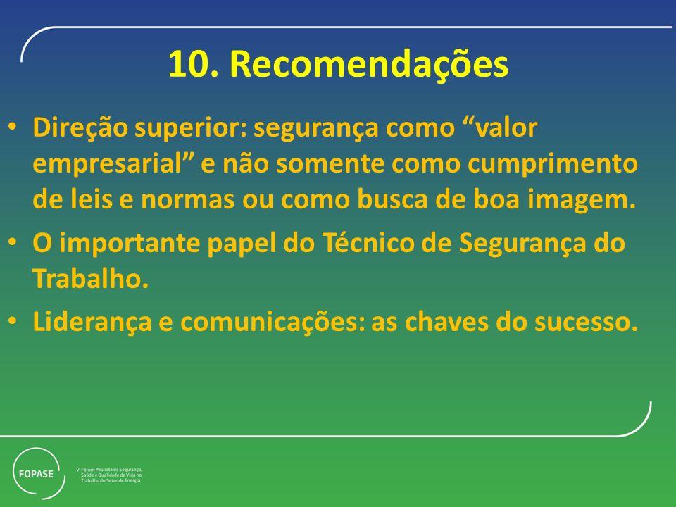 10. Recomendações Direção superior: segurança como valor empresarial e não somente como cumprimento de leis e normas ou como busca de boa imagem. O im