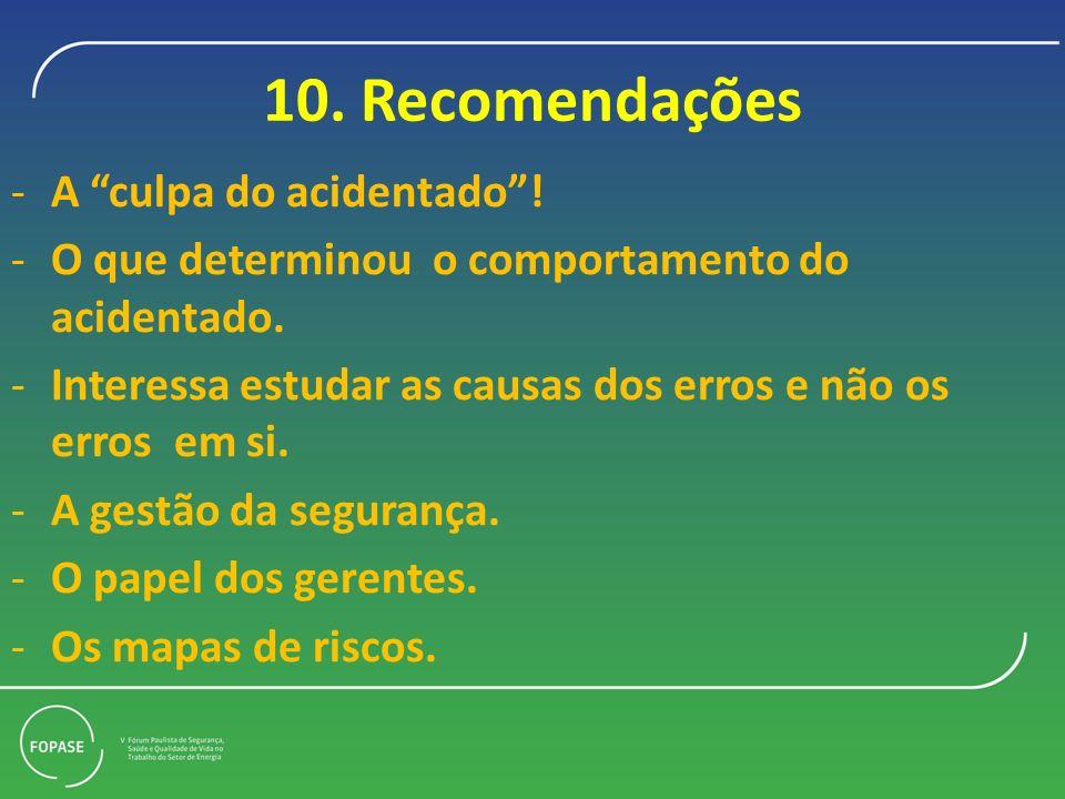 10.Recomendações -A culpa do acidentado. -O que determinou o comportamento do acidentado.