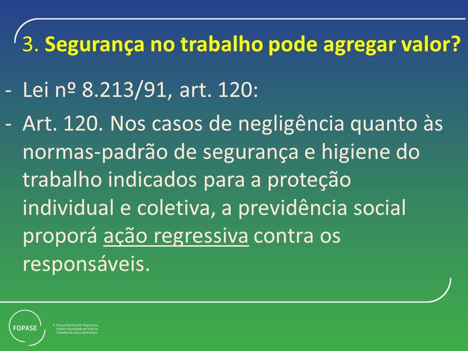 3.Segurança no trabalho pode agregar valor. -Lei nº 8.213/91, art.
