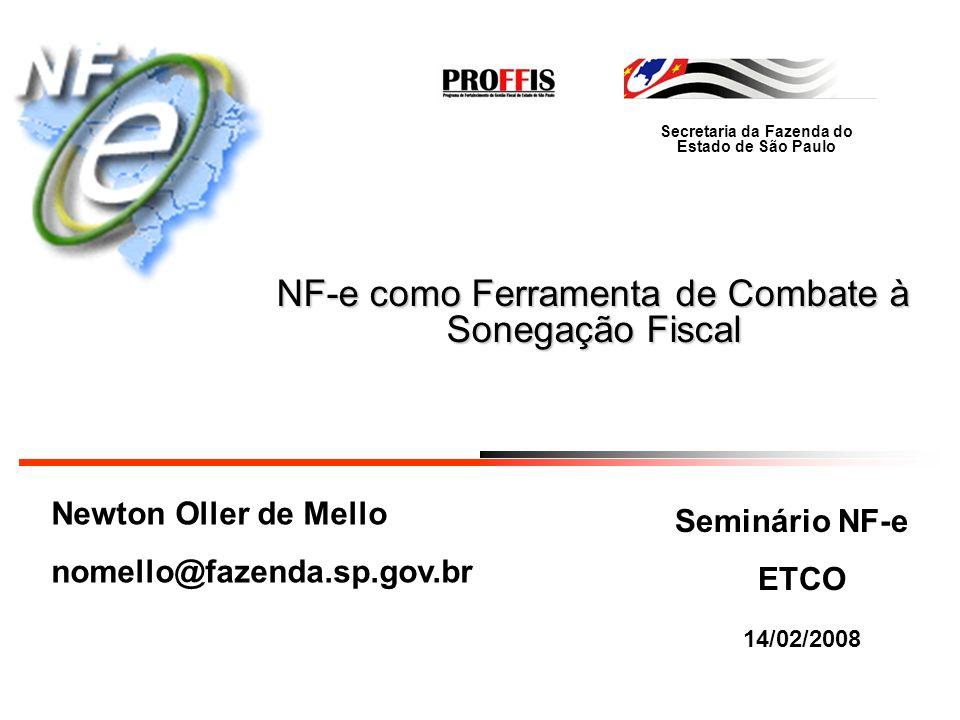 Secretaria da Fazenda do Estado de São Paulo Integração NF-e Registro de Passagem NF-e Sistema já desenvolvido e em testes finais pelo ENCAT Registro NF-e pelos Postos de Fronteira Estaduais (intermediários e destino) Registro de todas às NF-e Leitura por código de barras Conferência das informações NF-e Acesso pelos Estados aos registros de passagem Evita simulação de operações interestaduais e re-utilização de DANF-e
