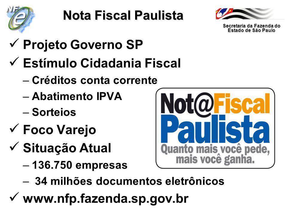 Secretaria da Fazenda do Estado de São Paulo Nota Fiscal Paulista Projeto Governo SP Estímulo Cidadania Fiscal –Créditos conta corrente –Abatimento IP