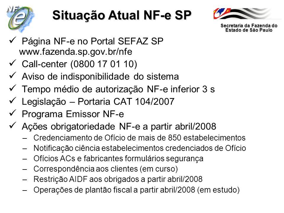 Secretaria da Fazenda do Estado de São Paulo Situação Atual NF-e SP Página NF-e no Portal SEFAZ SP www.fazenda.sp.gov.br/nfe Call-center (0800 17 01 1