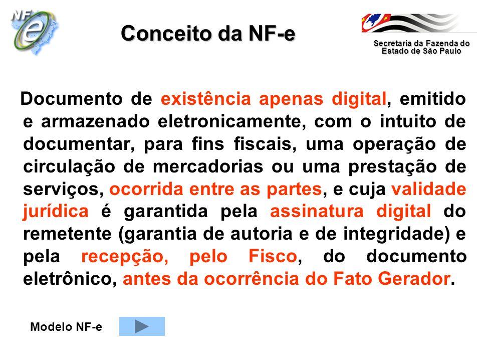 Secretaria da Fazenda do Estado de São Paulo Conceito da NF-e Documento de existência apenas digital, emitido e armazenado eletronicamente, com o intu