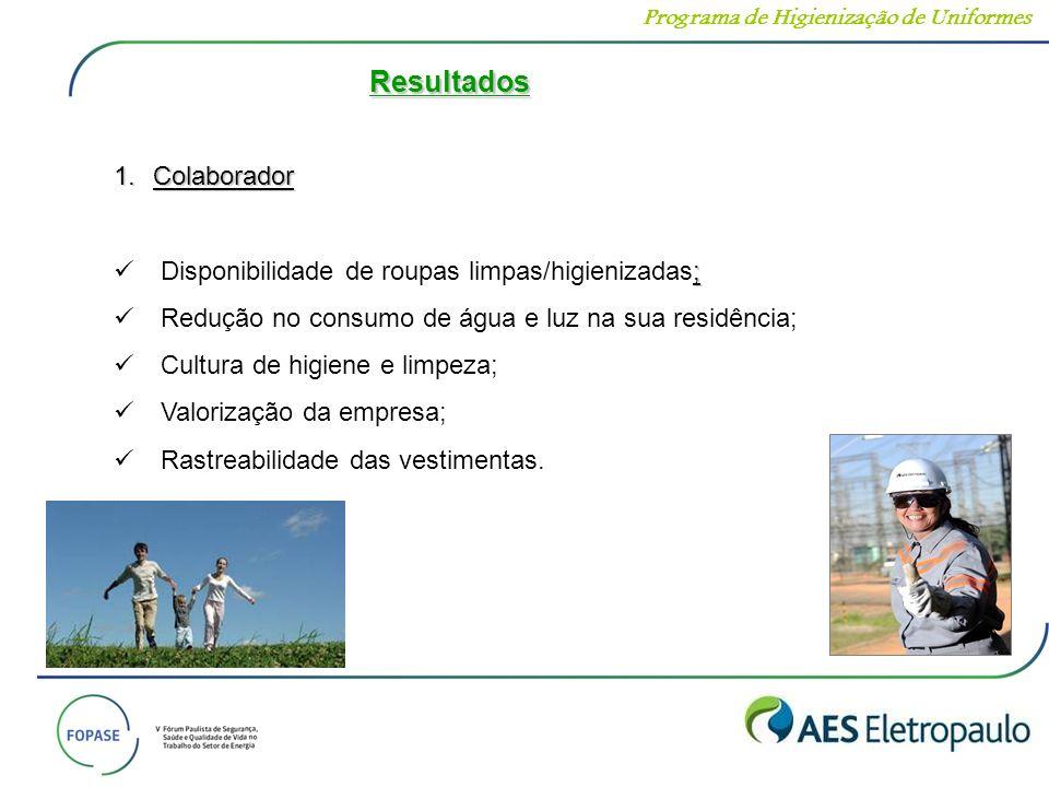 Resultados 1.Colaborador ; Disponibilidade de roupas limpas/higienizadas; Redução no consumo de água e luz na sua residência; Cultura de higiene e lim
