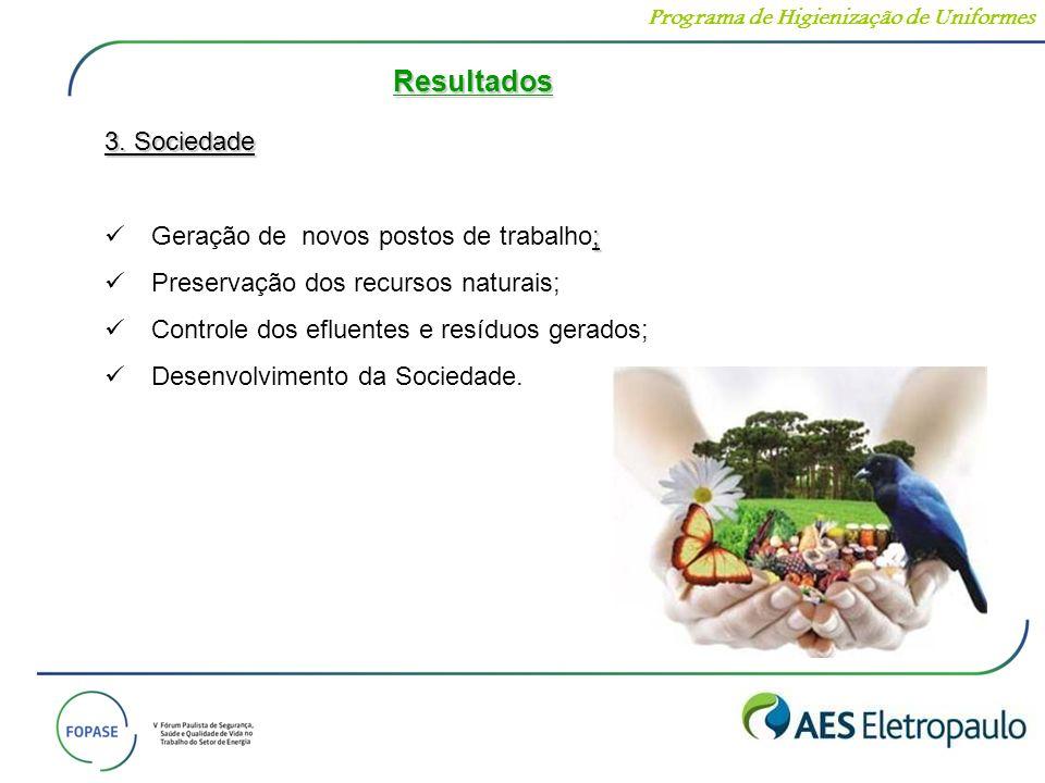 3. Sociedade ; Geração de novos postos de trabalho; Preservação dos recursos naturais; Controle dos efluentes e resíduos gerados; Desenvolvimento da S