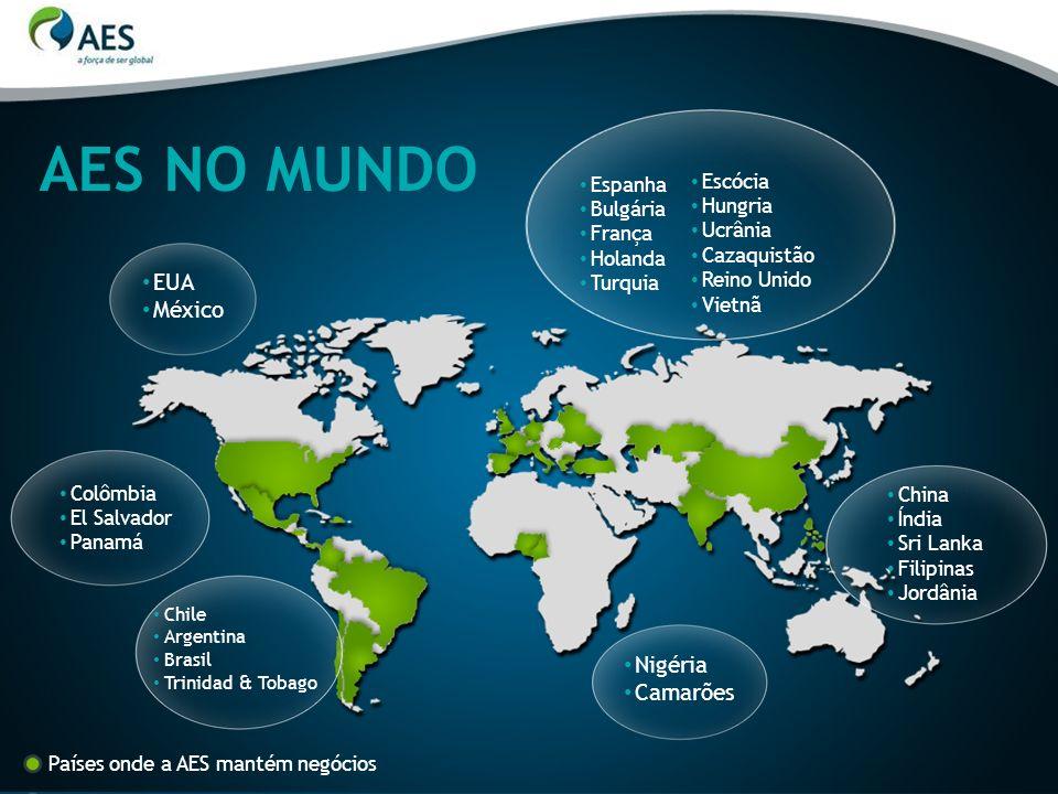 Chile Argentina Brasil Trinidad & Tobago AES NO MUNDO EUA México Colômbia El Salvador Panamá Espanha Bulgária França Holanda Turquia Nigéria Camarões