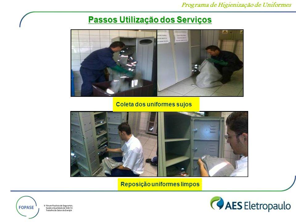 Coleta dos uniformes sujos Reposição uniformes limpos Passos Utilização dos Serviços Programa de Higienização de Uniformes
