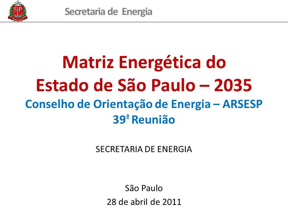 Secretaria de Energia Cenários de Disponibilidade de Energéticos Foram consideradas as potencialidades energéticas do Estado: Biomassa expansão da área de cana em pastagens, até o limite do Zoneamento Agroecológico (expansão para 6,3 milhões ha plantados em 2035) adoção de tecnologias avançadas e substituição de equipamentos (gaseificação do bagaço e palha (3,1 GWmédios em 2035), biodigestão da vinhaça (213 MWmédios em 2035) e etanol celulósico, que responderá por 6,15% do etanol produzido em 2035) utilização de folhas, pontas e etanol celulósico na cogeração (6,2 GWmédios em 2035) Petróleo e Gás Natural (Pré-Sal) descobertas do pré-sal na Bacia de Santos (oferta de 55,4 MMm³/d em 2035) indução da cogeração nos setores industrial, comercial e público (potencial de 11,89 MMm³/d em 2035, correspondendo a 1.895 MW) implantação de térmicas no cenário tendencial totalizando 2.548 MW em 2035, as quais podem ser complementadas com a disponibilidade líquida de gás do Estado em cerca de 3.000 MW; Potencial Hidrelétrico Remanescente utilização dos potencias remanescentes identificados no Estado (acréscimo de 1.109 MW até 2035 - 83 aproveitamentos) Eólica Resíduos Sólidos Urbanos Resíduos Florestais, Biogás de Aterro e Biodiesel Oferta