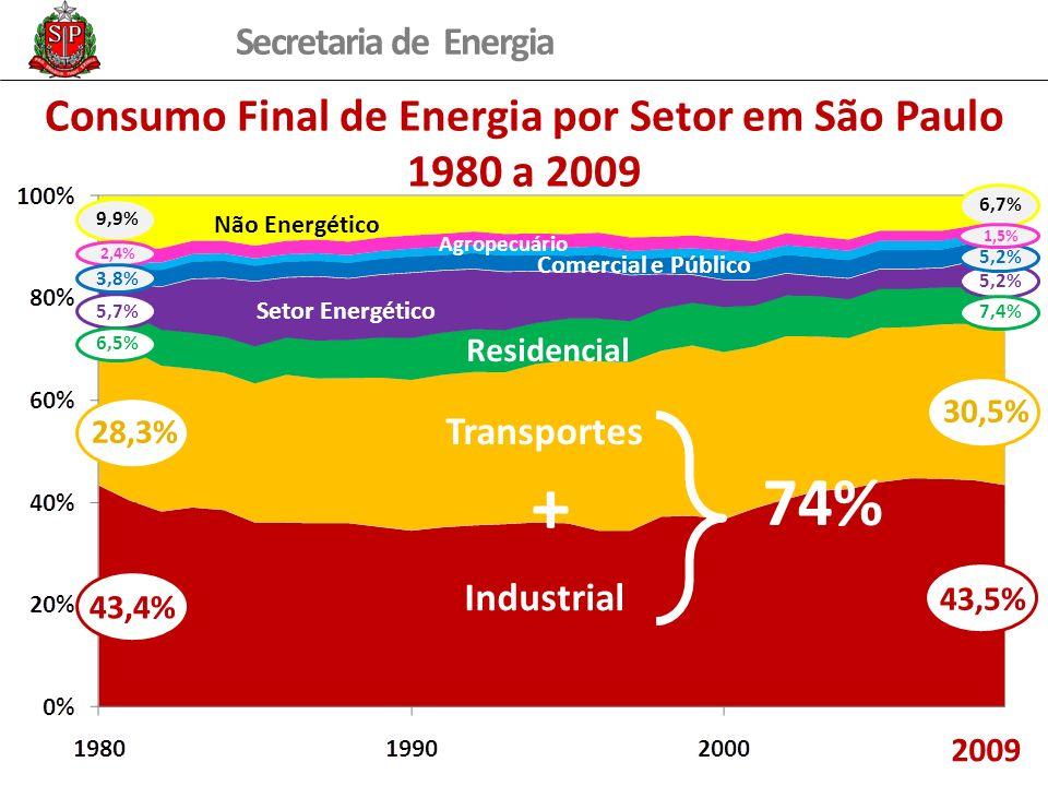 Secretaria de Energia Consumo Final de Energia por Setor em São Paulo 1980 a 2009 28,3% 9,9% 5,7% 43,4% 30,5% 6,7% 5,2% 43,5% 7,4% 6,5% Industrial Transportes + 74% 2009 Residencial Setor Energético Não Energético Comercial e Público Agropecuário 2,4% 3,8% 5,2% 1,5%