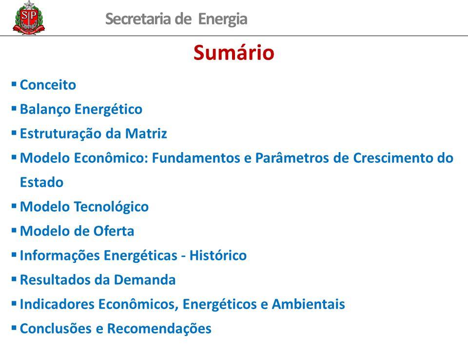 Secretaria de Energia Sumário Conceito Balanço Energético Estruturação da Matriz Modelo Econômico: Fundamentos e Parâmetros de Crescimento do Estado Modelo Tecnológico Modelo de Oferta Informações Energéticas - Histórico Resultados da Demanda Indicadores Econômicos, Energéticos e Ambientais Conclusões e Recomendações